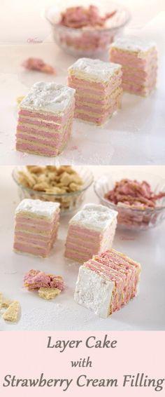 Eastern European Layer Cake with Strawberry Cream Filling    http://www.winnish.net/2014/01/1790/