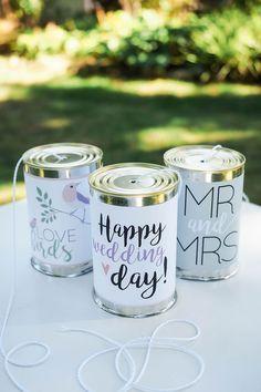 DIY-Vorlage für Dosen fürs Hochzeitsauto