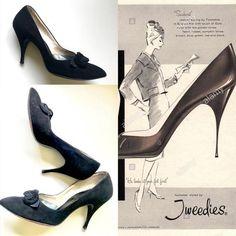 Items similar to SOLD SOLD Vintage Black Suede Stiletto Heel Pumps Tafetta & Suede Floret Tweedies on Etsy 60s Shoes, Retro Heels, Vintage Heels, Heel Pumps, Stiletto Heels, Women's Heels, Womens High Heels, Black Suede, Flappers