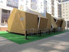 Summer Café by Dark Design Group - The Summer Café by Dark Design Group is a fresh take on a classic restaurant concept. Located in Ufa, Russia, this angular pop-up eatery highlight. Temporary Architecture, Residential Architecture, Interior Architecture, Mobile Architecture, Oriented Strand Board, Kiosk Design, Retail Design, Café Exterior, Pavillion