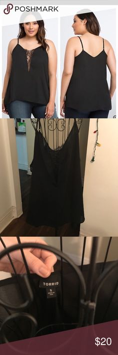 Torrid lace inset black cami, size 5X New without tags. This is a black silky cami with adjustable straps. It has a lace detail at the chest and partially down the sides. The lace parts are sheer. This is a torrid size 5 (please see the attached size chart✅). I'm motivated to sell so if you're interested, please make me an offer. torrid Tops Camisoles