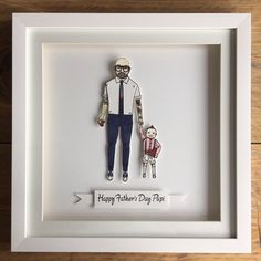 This super cute portrait went to London #fathersday #fathersdaygifts Great ideas for gifts #paperweddinganniversary #wedding #weddinggifts #anniversary #gifts #paperdolls #illustration #brightonillustrator #celebration #birthdays #handmade #custommade