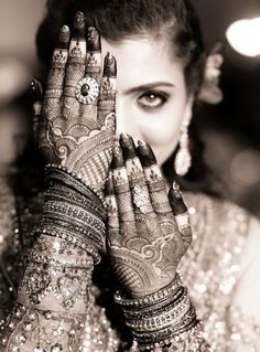 "Mehndi or Henna word comes from the Sanskrit Language as ""Mendhika"". Henna Mehndi designs became a new cool, where they … Pakistani Mehndi Designs, Latest Bridal Mehndi Designs, Henna Designs, Mehendi Photography, Indian Wedding Photography Poses, Indian Bride Poses, Indian Wedding Poses, Indian Wedding Bride, Desi Bride"