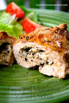 Pesto and Mozzarella Stuffed Chicken Breasts:  cheesy, moist and so much flavor!