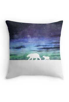 """Aurora borealis and polar bears (light version)"" Throw Pillow by Savousepate on…"