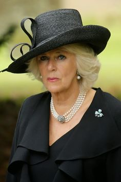 Camilla, Duchess of Cornwall, attends the funeral of Deborah, Dowager Duchess of Devonshire at St Peters Church, Edensor, on 02.10.2014 in Chatsworth, England.