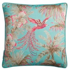Matthew Williamson Turquoise & Pink Bird Of Paradise Cushion (£83) ❤ liked on Polyvore featuring home, home decor, throw pillows, accessories, small accessories, turquoise multi, pink throw pillows, turquoise throw pillows, turquoise home decor and turquoise accent pillows