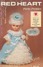 """Party Pretties, Red Heart crochet patterns for 13"""" dolls"""