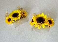 Sunflower Wedding hair Accessory Bridal by BudgetWeddingBouquet, $11.95 - with my mop, I'll probably need two.  Also emailed this seller to see if she can do custom colors.