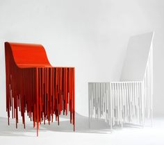 the holy ghost chairs, dripping style, red and white - While designing these chairs, YI Chen and Muchen Zhang positively channeled into the energy of the Holy Ghost.