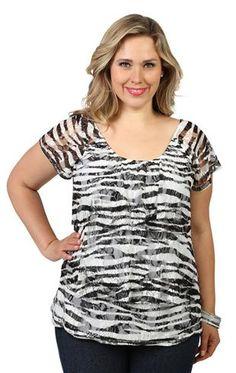 plus short sleeve zebra print ruffle tier top Debs $23.50