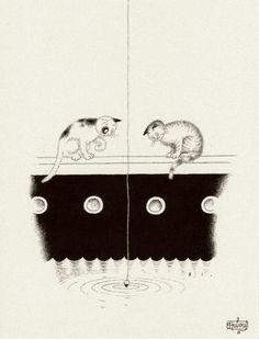 Albert Dubout 'Les chats' 09 Crazy Cat Lady, Crazy Cats, Albert Dubout, Son Chat, Carol Ann, Cat Art, Drawings, Cat Illustrations, Passion