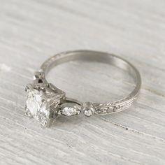 Image of .99 Carat Old European Cut Diamond Engagement Ring