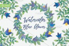 Watercolor Blue Flower by Alex.artline on @creativemarket