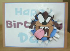 Taz card for David, (Taz Punch Art Tutorial is in my SU Punch Art Board)