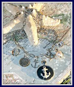 Navy Blue Anchor Cameo USN charm necklace by Son and Sea Free US shipping