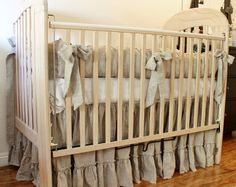 Love the neutral, natural look, i would add coral accents.     crib bedding setLilly by debbiesporch on Etsy, $350.00