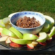 Apple Brickle Dip Allrecipes.com. I combine all the ingredients except apples, instead of layering it.
