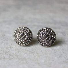 Antique Silver Earrings Gunmetal Earrings Small Silver Earrings Pewter Earring Gift Inexpensive Gift for Her Antique Silver Jewelry