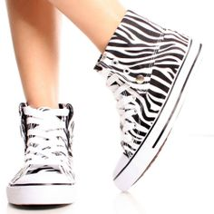 White-Black-Zebra-Canvas Casual Lace Up Women Flat Sneaker Ankle Boots