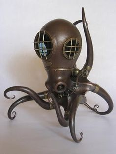 Beautiful metal objects by Nozomu Shibata steampunk nautical home decor Art Steampunk, Steampunk Fashion, Steampunk Octopus, Steampunk Robots, Steampunk Animals, Bioshock, Le Kraken, Performance Artistique, Metal Art