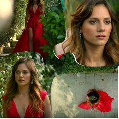 Still in love with that red dress. Gorgeous entrance in a fairytale's scenery.Nilay Deniz is here as in ♡ Hair Masks, Still In Love, Turkish Actors, Engagement Photos, Fairy Tales, Fashion Inspiration, Scenery, Nail Polish, Actresses