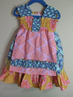 Summer Blossom Girls Dress with Apron by SouthernSeamsKids on Etsy, $48.00