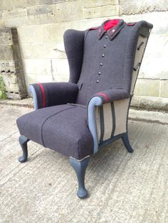 Soviet 'Cold War' Overcoat Wrapped De-Constructed Military Chair #Chair, #Recycled