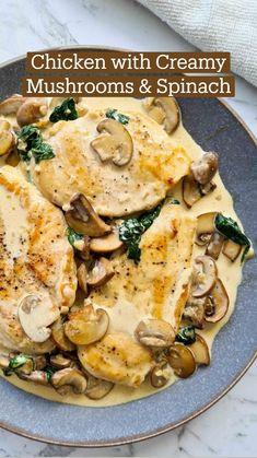 Chicken Mushroom Recipes, Mushroom Cream Chicken, Creamy Chicken Breast Recipes, Mushroom Meals, Garlic Mushroom Sauce, Smothered Chicken Recipes, Creamy Mushroom Pasta, Creamy Mushrooms, Low Carb Recipes