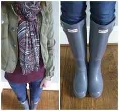 military jacket, scarf, and Hunter boots #paisley #michaelkorswatch #jcrewfactory