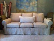 Linen couch slipcover with knife pleated skirt Julia Laing Design
