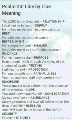 Psalm 23 from the Bible's Book of Psalms and a line-by-line meaning of the verses. Prayer Scriptures, Bible Prayers, Faith Prayer, Scriptures On Healing, Psalm 23 Bible Verse, Psalm 91 Prayer, Worship Scripture, Psalm 24, Healing Prayer