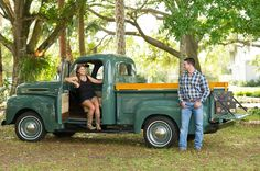 County Vintage Truck Engagement Session at Up the Creek Farms in Malabar Florida - Photo by Captured by Belinda - click pin for more - www.orangeblossombride.com