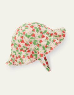 Woven Wide Brim Hat - Boto Pink Strawberry. Woven Wide Brim Hat.Boto Pink Strawberry.A classic – and very effective – shape, this wide-brimmed hat is a sunny-day essential. Its crafted from lightweight cotton voile printed all over with strawberries and features a coordinating coloured lining. Embroidered scalloped edges bring texture and detail. In case of sudden gusts of wind, its held in place by touch-and-close chin straps.