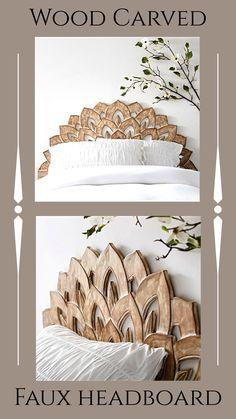 No Nails Wood Carved Faux Headboard.  #headboard #pbteen #affiliate