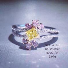 NuoleenbJewelry. Yellow and Pink diamond ring. 黄钻粉色鑽石戒指 #jewelrygram…