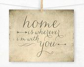 Home is Wherever I'm With You Typography Print by IslaysTerrace