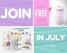 Start your Scentsy business in July and get all these goodies AND a free warmer. The Starter Kit comes with all of the essentials for launching a successful Scentsy business: a best selling warmer, 80+ scented testers, catalogs, order forms, 3 months of your Personal Website, product samples, even MORE business tools, FREE gift! https://tracytodaro.scentsy.us/join