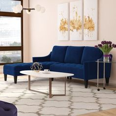 New Pamila Left Hand Facing Sectional by Willa Arlo Interiors. Sofas Home Decor Furniture from top store Sofa Furniture, Living Room Furniture, Furniture Design, Modern Sectional, Corner Sectional, Sectional Sofas, Blue Couches, Chaise Sofa, Shop Interiors