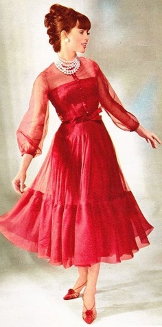 """I can't decide if this is fabulous and goes on the """"someday"""" pile or if this would make me (not tall/thin) look like I was doing a Dolly Parton 1970s retrospective. (Christian Dior, 1965)"""