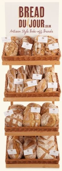 Bread Display tips #3 Woven baskets give bread a rustic artisan appeal that customers find attractive.