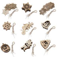 10x-Shabby-Laser-Cut-Wood-Embellishment-Elk-Snowflake-Santa-Bell-Xmas-Tree-Decor
