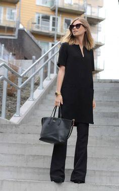 littleblackjean all+black black monochromatic monochrome fashion street+style sunglasses flare