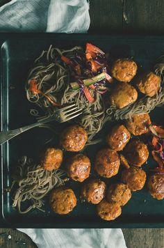 Turkey meatballs with sticky soya sauce and soba noodles