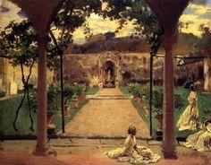 At Torre Galli: Ladies in a Garden by John Singer Sargent #art