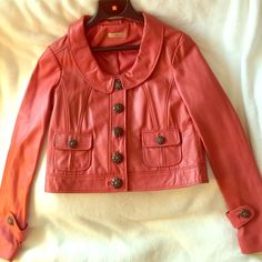 """NWOT!!! Wilsons """"Real"""" Leather Jacket Deep orange/rust leather jacket with 5-front button closure. Never worn! Wilsons Leather Jackets & Coats"""