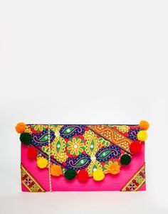 Image 1 of Moyna Foldover Clutch Bag With Embroidery And Pom Pom Trim - Women's Fashion purse - accessories