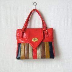 70s Handbag / Striped Vinyl Purse / Multi Color Handbag / 1970s Bag by ultravioletvintage