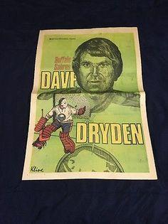 0682a9777 Rare 1973 Buffalo Evening News Buffalo Sabres Dave Dryden Poster-Flat Ship