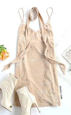 Date night style-Apricot crushed velvet cami dress with neck tie outfit.